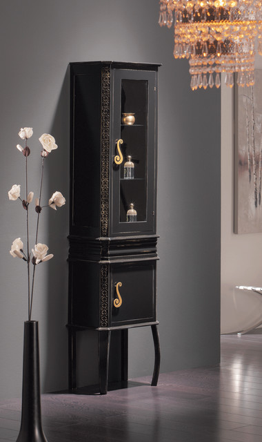 Macral London 17 and 1/2 inches. large linen cabinet. Black-golden patina traditional-bathroom-storage