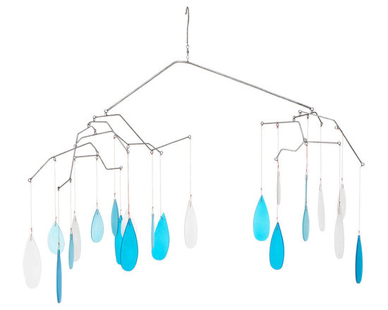 Modern Powder Coated Handmade Glass Raindrop Mobile - Like the soothing sound of rain against the roof, this handmade mobile brings an ethereal touch to your outdoor space. Layers of sea-toned glass droplets hang from a metal tree branch-inspired silhouette, lending a complex range of movement and kinetic appeal. Handmade in Indonesia.