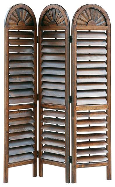 Wayborn Chinese Oakwood Royal Venetian Room Divider in Brown transitional-screens-and-room-dividers