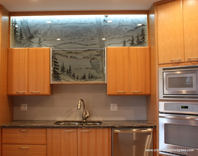 Kitchen cabinet door glass other metro by crawford studios sandblasted designs on glass Kitchen cabinet door design ideas