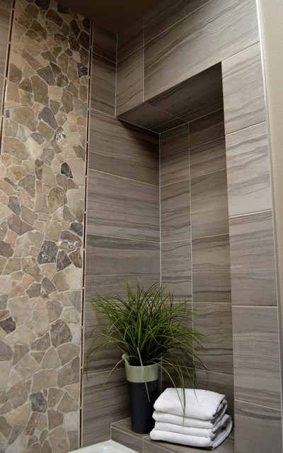 The kid's bathroom becomes the luxury grown-up bathroom! contemporary-tile