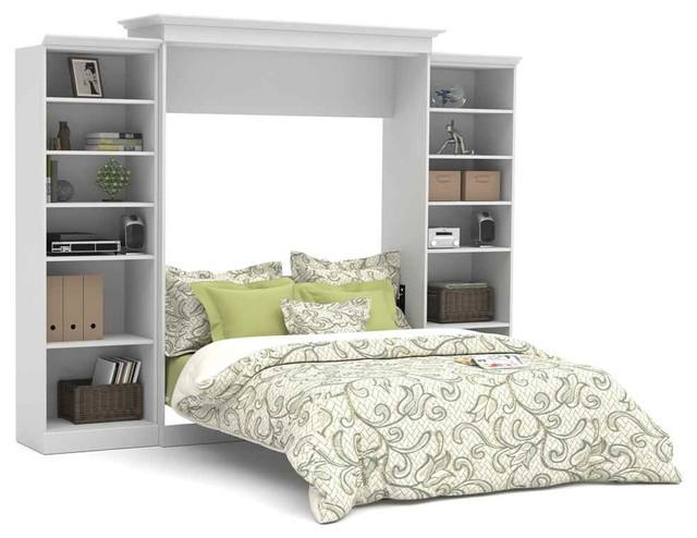 115 in queen wall bed with storage units in white for Headboard storage unit