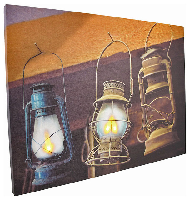 Flickering LED Hanging Lanterns Canvas Wall Hanging - Contemporary - Artwork - by Zeckos
