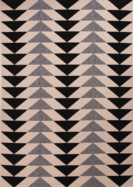 Patio 2×37 Rectangle Black Area Rug  Contemporary  Outd