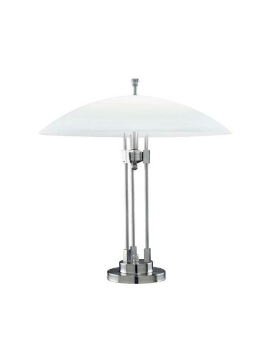 Joshua Marshal - Table Lamp W. Glass Shade Ps/Frost Glass E27 Cfl 13Wx2 - Finish: Polished Steel