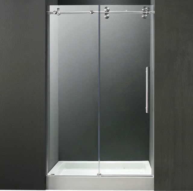 48in.  Frameless Shower Door 3/8in.  Clear/Chrome Hardware with White Base - Cen contemporary-showers