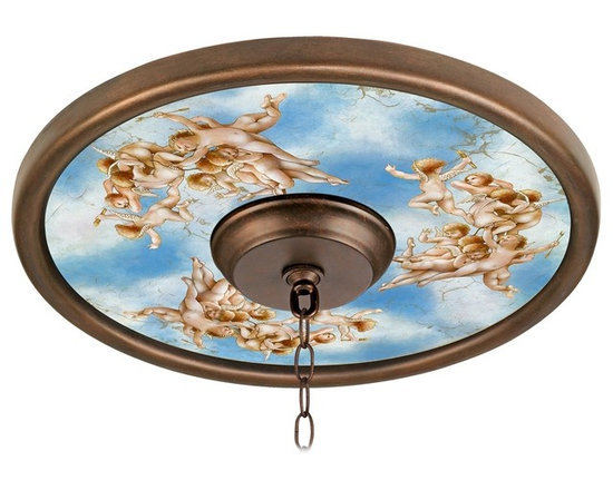 """Lamps Plus - Themed Celestial 16"""" Wide 4"""" Center Bronze Ceiling Medallion - This giclee pattern ceiling medallion transforms your existing fixture into a work of art. Its custom printed pattern on canvas is a reproduction of an artisan hand-painting. The giclee canvas is mounted on a 16"""" wide Valencia Bronze finish medallion which is lightweight and installs easily to your ceiling with multi-purpose adhesive (not included). Polypropylene construction. Canopy and chain not included. Please note this is a custom made-to-order piece; please allow 7 to 10 days for your medallion to be created. Valencia Bronze finish. Celestial pattern. Polypropylene construction. Giclee canvas. Lightweight and easy to install. Adhesive not included. 16"""" wide. 4"""" center opening.  Valencia Bronze finish.   Celestial pattern.   Polypropylene construction.   Giclee canvas.   Lightweight and easy to install.   Adhesive not included.   16"""" wide.   4"""" center opening."""