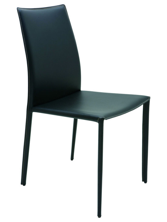 Nuevo Living - Sienna Dining Chair - Black Leather with Contrast Stitch - Nuevo HGGA283 - Stylish with a strong look, this Sienna Modern Chair in Black with contrast stitch is sure to amaze. Able to match any decor, this piece has a steel tube frame, bent plywood seat with CFS foam padding and sturdy leather upholstery that will definitely last for years to come. Designed to incorporate the latest fashion trends into a comfortable, elegant, and classic style, the Sienna Chair will make a stunning addition to any home setting.