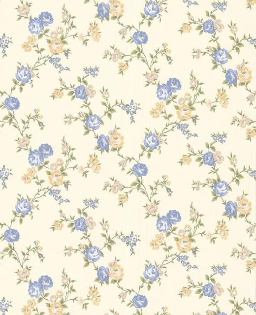 Rose Cottage Wallpaper - Buttermilk/Blue contemporary-wallpaper