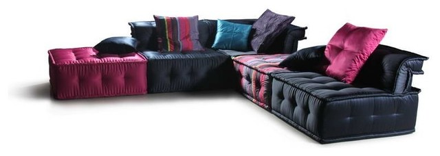 Vig Furniture Chloe Multicolored Fabric Sectional Sofa eclectic-sectional-sofas