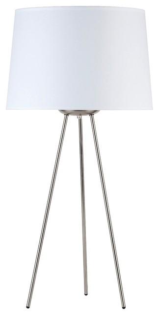"Contemporary Lights Up! Weegee White Linen 27"" High Table Lamp contemporary-table-lamps"