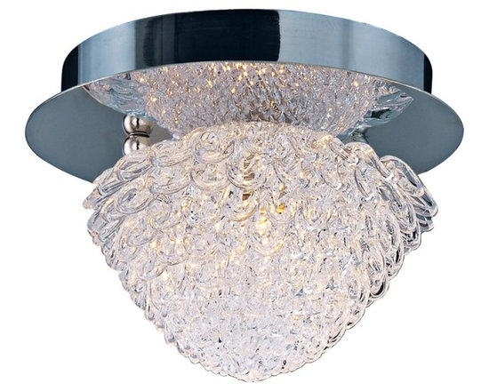 """ET2 - ET2 Blossom 5 1/2"""" Wide Crystal Flushmount Ceiling Light - Tiers of gleaming clear crystal form the petals of this fantastic flushmount ceiling light. These intricate shapes create a glistening shade that surrounds a warm Xenon bulb. Polished chrome finish canopy and hardware adds an additional level of shine to this wonderful contemporary design from ET2. Metal canopy. Polished chrome finish. Crystal shade. Includes one 40 watt G9 Xenon bulb. 5 1/2"""" wide. 4 1/2"""" high. Color temperature of bulb is 2900K.  Metal canopy.   Polished chrome finish.    Crystal shade.   Includes one 40 watt G9 Xenon bulb.   5 1/2"""" wide.   4 1/2"""" high.   Color temperature of bulb is 2900K."""