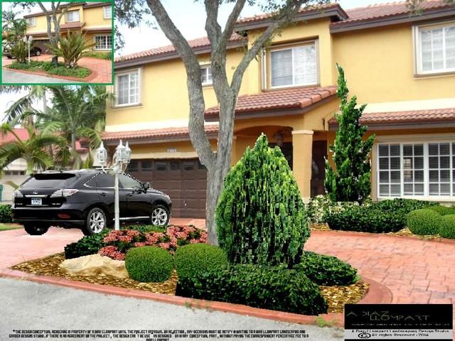 Miami lakes euro landscaping design rendering 08 14 for Landscape design miami