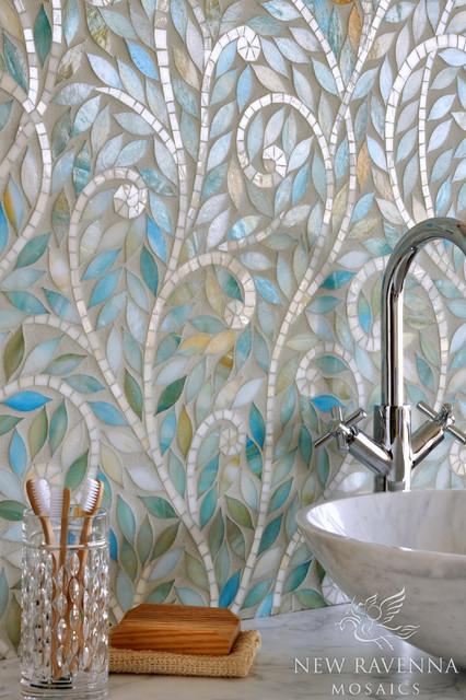 Climbing Vine Jewel Glass Mosaic contemporary-tile