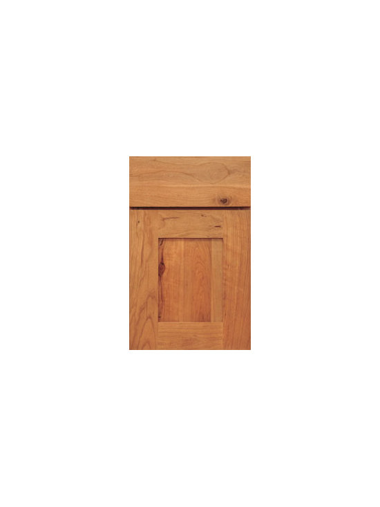 Cherry Door Styles from Wellborn Cabinet, Inc. - Bristol Cherry is a clean uncluttered celebration of fine wood. The sophisticated design of wide stiles and rails and simple slab drawer fronts allow for a brilliant display of natural colors and textures featured here in Natural Cherry.