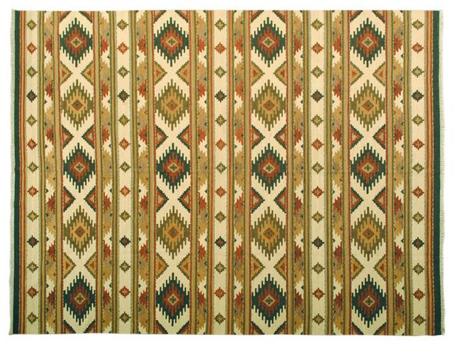 Hand Woven Anatolian Kilim Flat Weave Reversible Sh6553 transitional-tapestries