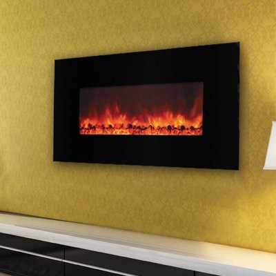 Yosemite Home D Cor Carbon Flame 44 Wall Mount Electric Fireplace Modern Indoor Fireplaces