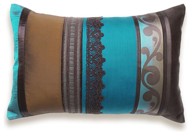 Eclectic Pillow Cases : Teal Blue Chocolate Rust Brown Lumbar Pillow Case OOAK 12 x 18 in IRMA DESIGN