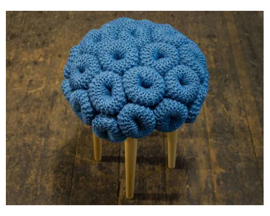"""Eco Friendly Furnture and Lighting - meticulously-detailed knitted furniture"""" influenced by """"the beauty and structural complexity of aquatic life."""""""