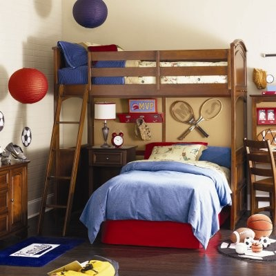 Deer Run Loft Bed with Lower Bed Frame modern-beds