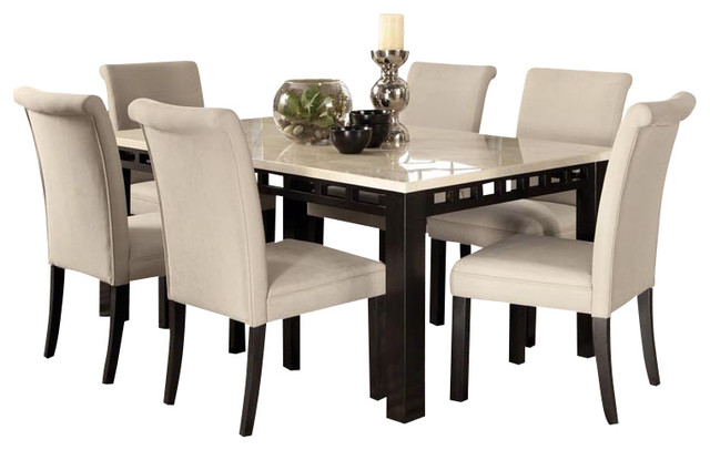 furniture gateway white 7 piece dining room set with parsons chairs