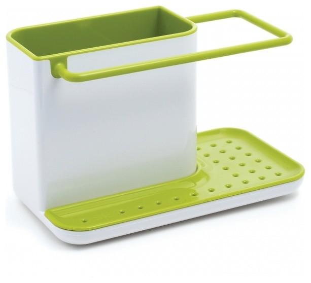 Caddy Self Draining Sink Tidy, White/Gray modern-dish-racks