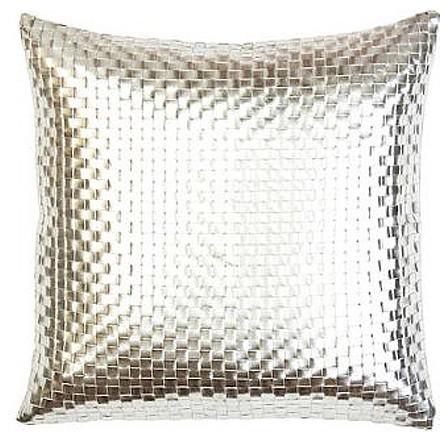 Sivaana Metallic Silver Basketweave Pillow - Contemporary - Decorative Pillows - by Gracious Home