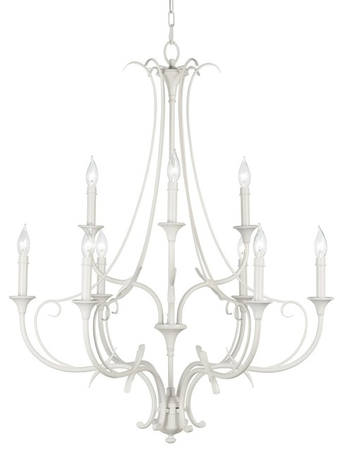 """Iron Feiss Peyton Saltspray 31"""" Wide 9-Light White Chandelier traditional-chandeliers"""