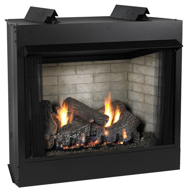 Premium 36 vent free see thru ip fireplace natural gas for Through fireplace