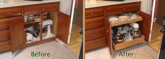 Pull Out Shelves with a Stile Removal kitchen-drawer-organizers