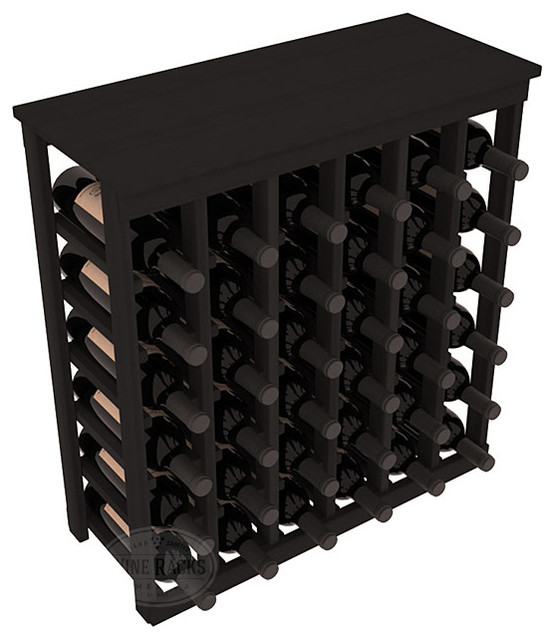 36 Bottle Kitchen Wine Rack in Redwood with Black Stain contemporary-wine-racks