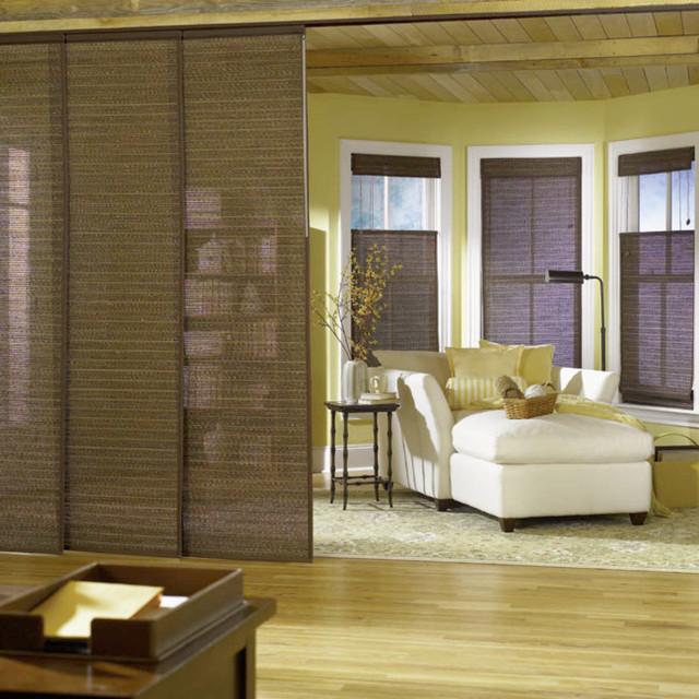 Bali Sliding Panels Natural Shade Fabrics contemporary-vertical-blinds