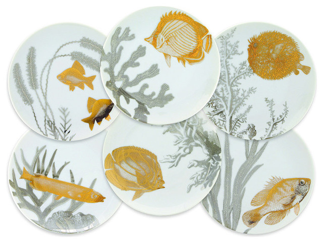 Caskata Set of Six Aquarium Appetizer Plates - Beach Style - Dinner Plates