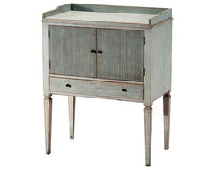 Lorelei Spindle Leg French Country Blue Gray Wash Side Table transitional-nightstands-and-bedside-tables