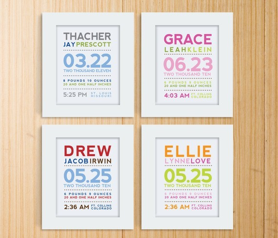Modern Typography Birth Print by Mosie Posies contemporary-nursery-decor