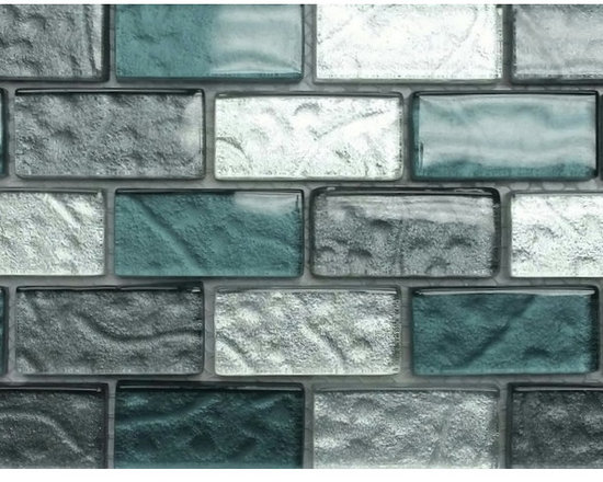 Rachels Mosaics - Storm Glass Mosaic - This is a beautiful glass mosaic that features dark grey, light grey and medium green bricks that have the appearance of being textured. Its subtle shading will enhance any bathroom or kitchen it is installed in. Sure to add beauty, elegance and value where ever it is used.