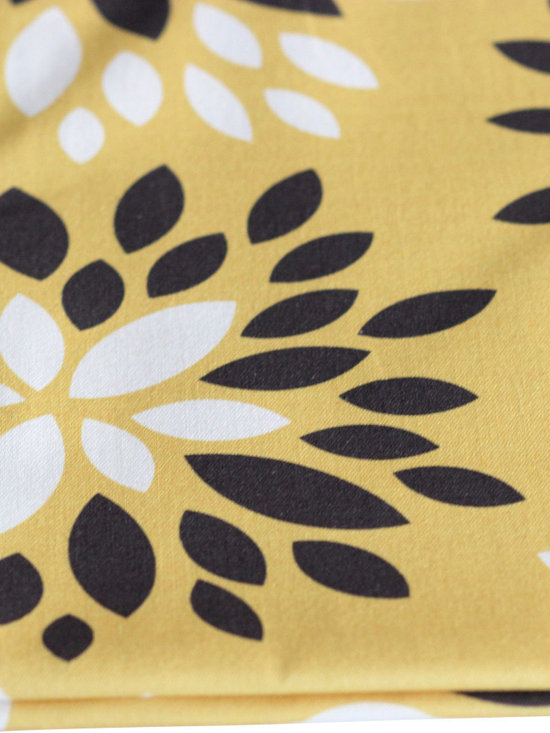 PURE Inspired Design - Dahlia Pillow, Mustard/Dark Gray/Natural, Swatch - Dahlia organic cotton canvas swatch in Mustard, Dark Gray, and Natural.  All our pattern organic fabric is grown, woven, and printed in the USA.