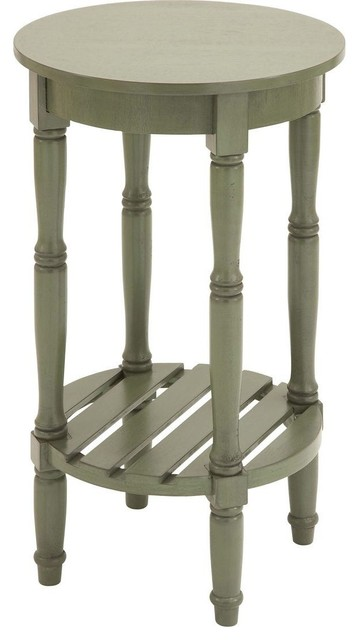 Side Table with Round Side in Steel Green Shade traditional-side-tables-and-end-tables