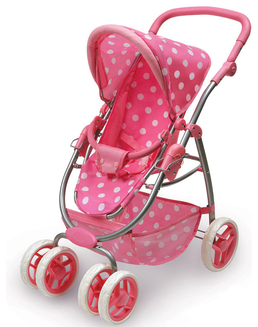 Six Wheel Doll Travel System Stroller and Carrier - Pink Polka Dots traditional-kids-toys-and-games