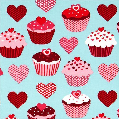 blue heart cupcake fabric by Robert Kaufman fabric