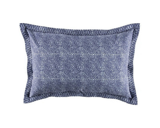 """John Robshaw - Bundi Indigo Sham in Standard design by John Robshaw. """"Printed on the finest cotton, pre-washed and then re-washed after printing to make them exceptionally soft. Each duvet cover, euro, and sham is hand-embroidered by our patient seamstresses in India.Made in India. Machine washable."""" - John Robsaw"""