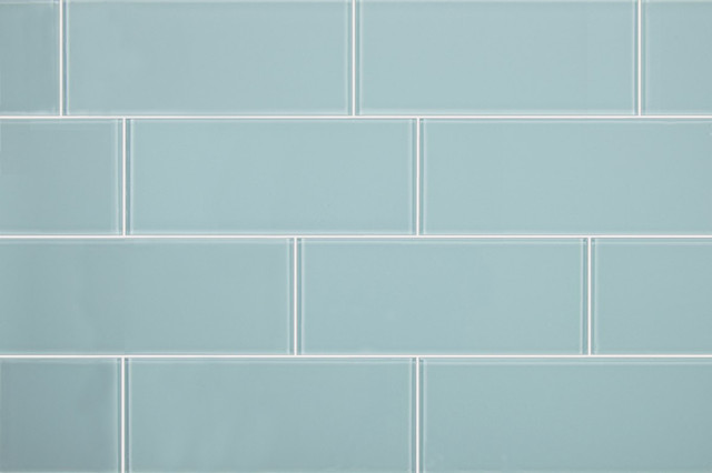 3x8 Aqua Blue Glass Subway Tile Modern Tile By All