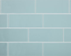 3x8 Aqua Blue Glass Subway Tile modern-tile