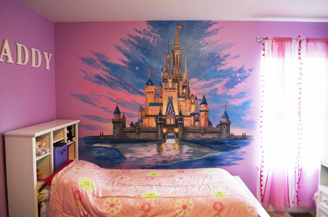 Disney castle mural traditional minneapolis by walls for Castle mural kids room