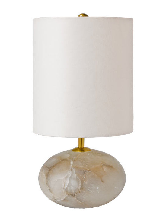 Rejuvenation: Entry - Our Alabaster Orb Accent Lamp features a stylish fabric shade. Alabaster is a natural material and colors vary by piece.