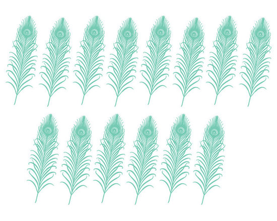 Dana Decals - Art Deco Peacock Pattern Wall Decal - Art Deco Peacock Feather Pattern (total 14)