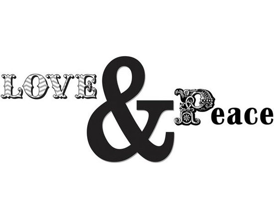 """Brewster Home Fashions - Love and Peace Quote Decal - Love and peace two of the loveliest sentiments imaginable make for a beautiful inspiration in any room. These wall words are artistically created with pretty fonts and a stylishly oversized ampersand symbol. Love and Peace Wall Decals come on a 17.25"""" x 24"""" sheet and contains 4 pieces. WallPops are always repositionable and removable."""