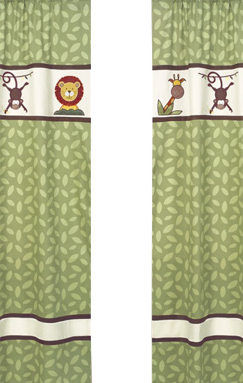 Jungle Time Green Leaf Print Window Panels (Set of 2) contemporary-curtains