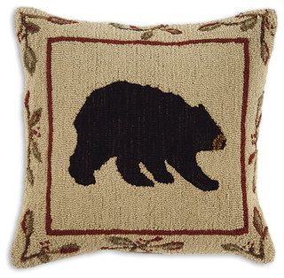 Big Black Decorative Pillows : Big Black Bear Hooked Pillow - Rustic - Decorative Pillows - by Indeed Decor