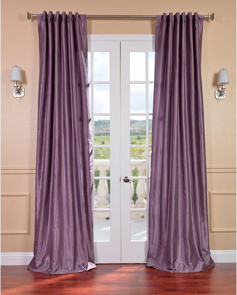 Wilko Faux Silk Eyelet Curtains Plum 167 X 137cm: Smoky Plum Vintage Faux Dupioni Silk Curtain Panel